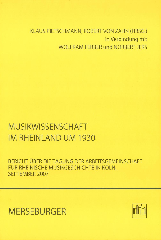 Musikwissenschaft im Rheinland um 1930