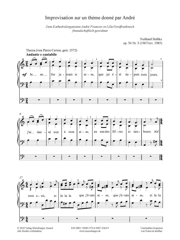 Improvisation sur un thème donné par André op. 56/3 (1967/rev. 1985)